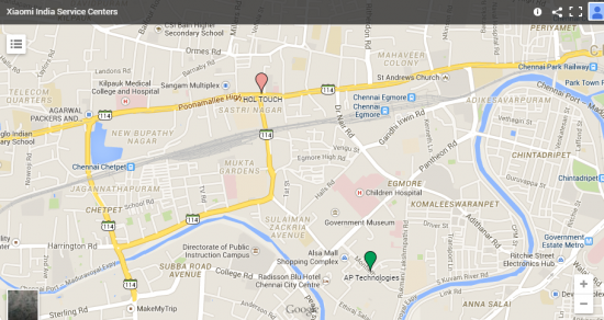Xiaomi MI Service Centers Chennai Location Map